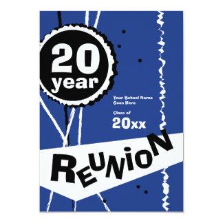 "Customizable Blue 20 Year Class Reunion Invitation 5"" X 7"" Invitation Card"