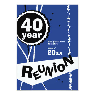 Customizable Blue 40 Year Class Reunion Invitation