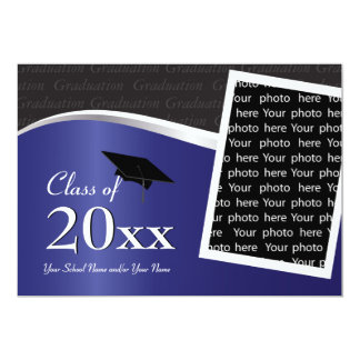 Customizable Blue and Black Graduation Invitation
