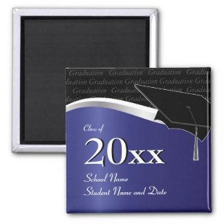 Customizable Blue and Black Graduation Magnet