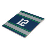 Customizable Blue and Green Sports Stripes Ceramic Tile