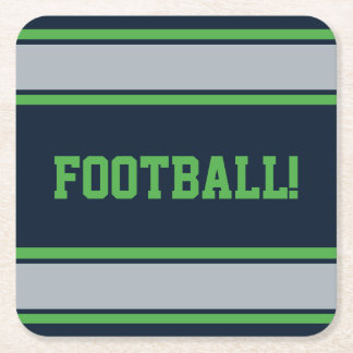 Customizable Blue and Green Sports Stripes Square Paper Coaster