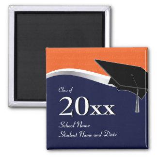 Customizable Blue and Orange Graduation Magnet