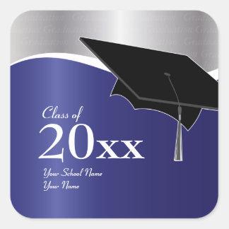 Customizable Blue and Silver Graduation Sticker
