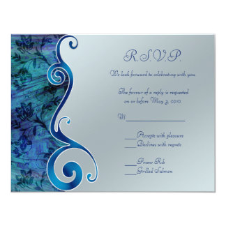 Customizable Blue and Silver RSVP Card