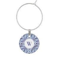 Customizable Blue and White Geometric Pattern Wine Glass Charm