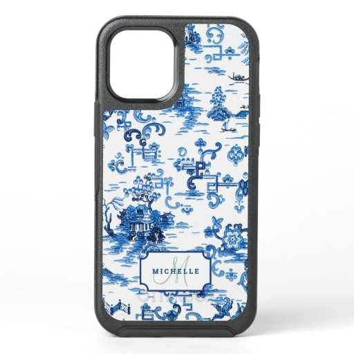 Customizable Blue and White Pagoda Chinoiserie OtterBox Symmetry iPhone 12 Case