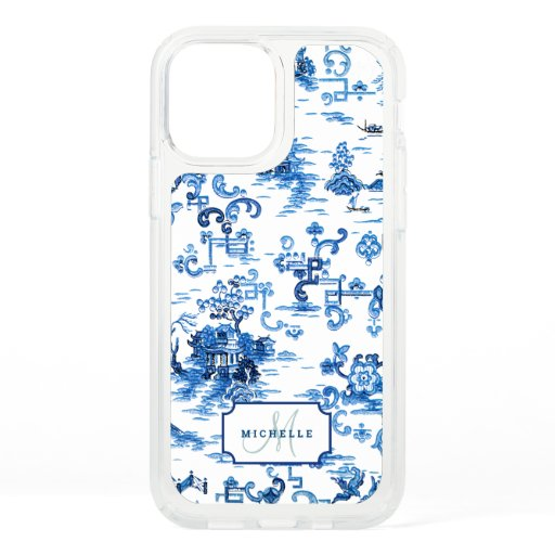 Customizable Blue and White Pagoda Chinoiserie Speck iPhone 12 Case
