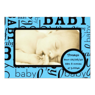 Customizable blue baby photo announcement cards
