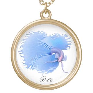 Customizable Blue Betta Fighting Fish Necklace