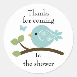Customizable blue bird round sticker