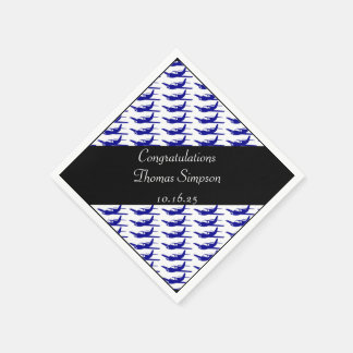 Customizable blue black airplane napkins