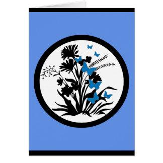 Customizable blue black white flower sympathy card