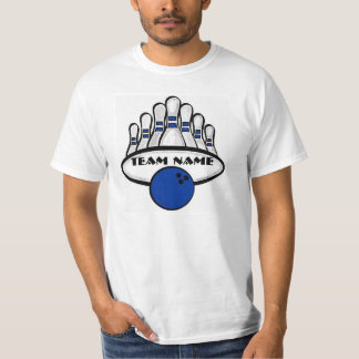 Customizable blue bowling team guys value tee