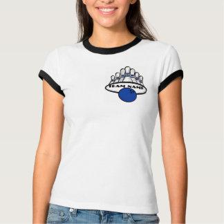 Customizable blue bowling team ladies tee
