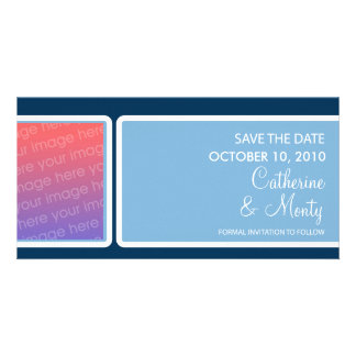 Customizable Blue box Save the Date Photo Card