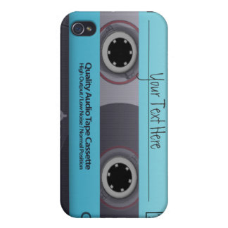Customizable Blue Cassette Tape Cover For iPhone 4