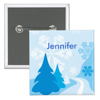 Customizable blue christmas Party name Pin