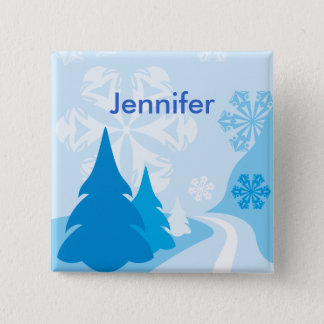 Customizable blue christmas Party name Pinback Button