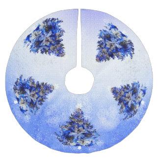 Customizable blue christmas tree brushed polyester tree skirt