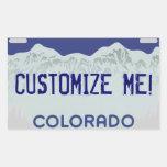 Customizable blue Colorado license plate stickers