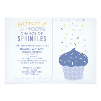 Customizable Blue Cupcake Sprinkle Invitation