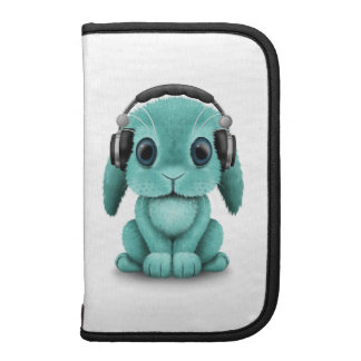Customizable Blue Dj Bunny with Headphones Folio Planner