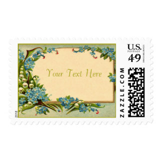 Customizable Blue Flowers Vintage Card Stamps