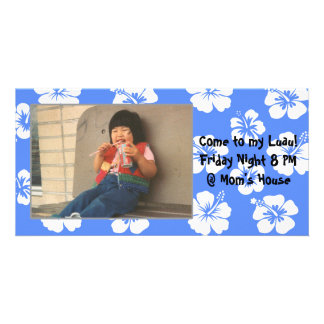 Customizable Blue Hibiscus Photocard Card