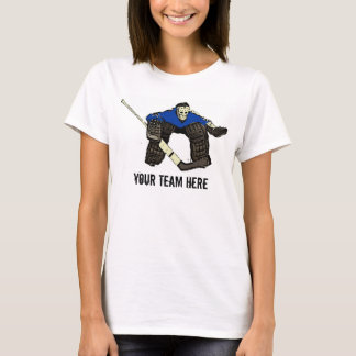 Customizable blue hockey goalie womens tee