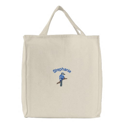 Customizable Blue Jay Embroidered Tote Bag