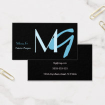 Customizable Blue Monogram Business Cards