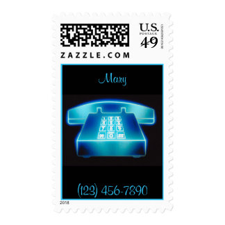 Customizable Blue Phone Postage Stamps