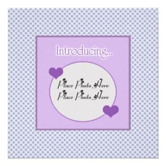 Customizable Blue Purple Birth Announcement