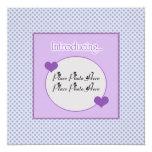 """Customizable Blue Purple Birth Announcement 5.25"""" Square Invitation Card"""