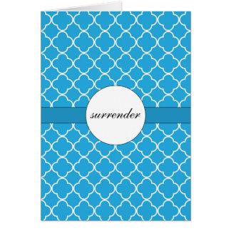 Customizable Blue Quatrefoil Pattern Greeting Card