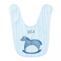 Customizable Blue Rocking Horse Baby Bib