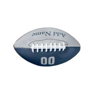 Customizable Blue & Silver Mini Football