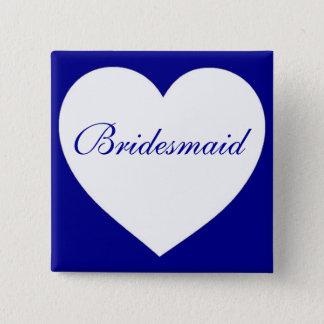 Customizable blue white heart bridesmaid button