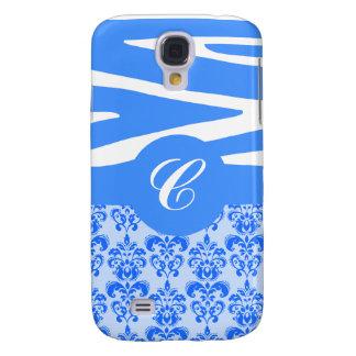 Customizable Blue Zebra & Damask iPhone Case Galaxy S4 Case