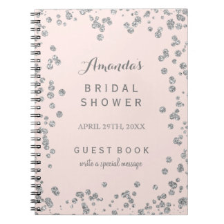 Customizable Blush Pink Bridal Shower Guest Book