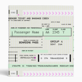 Customizable Boarding Pass 3 Ring Binder