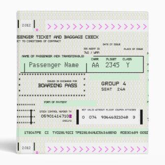 Customizable Boarding Pass 3 Ring Binder