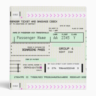 Customizable Boarding Pass 3 Ring Binders