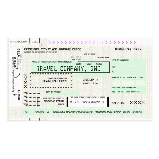 Customizable Boarding Pass Business Cards