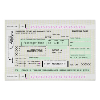 Customizable Boarding Pass Poster