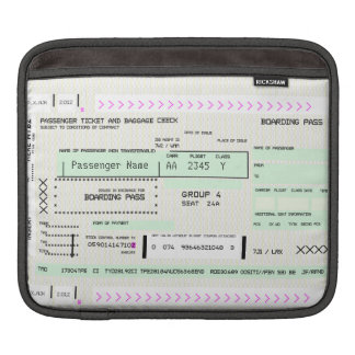 Customizable Boarding Pass Sleeves For iPads