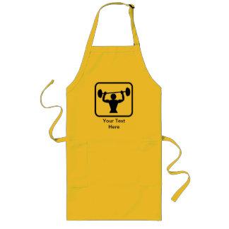 Customizable Bodybuilder / Weightlifter Logo Long Apron