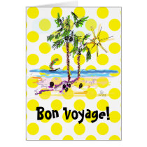 bon voyage, save travel, greeting cards, travel, summer, sun, fun, dots, yellow, palm, trees, water, beach, bahamas, caribbean, ginette, desings, simple, original, exotic, Card with custom graphic design