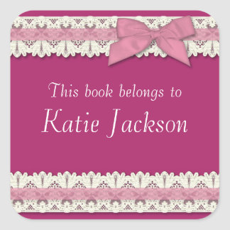 Customizable book belongs to pink bow stickers